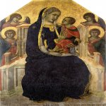 Pietro Lorenzetti (c. 1280 - 1348)  Madonna and Child with Angels  Gold and tempera on panel, 1315  126 x 83 cm  Museo Diocesano, Cortona, Italy